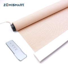 Customizable Motorized Curtain Remote Control Automation Perspective/Ventilate fabric Roller Blinds with Motor Grey White Beige