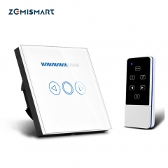 Zemismart EU Wireless Remote Control Dimmer Light Switch 1 Gang Touch Panel 110V to 220V Blue LED Backlight Work with Broadlink