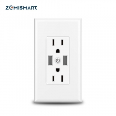 Zemismart WiFi US In Wall Outlet Work With Alexa Google Home With 2 Outlet and 2 USB Port APP Control