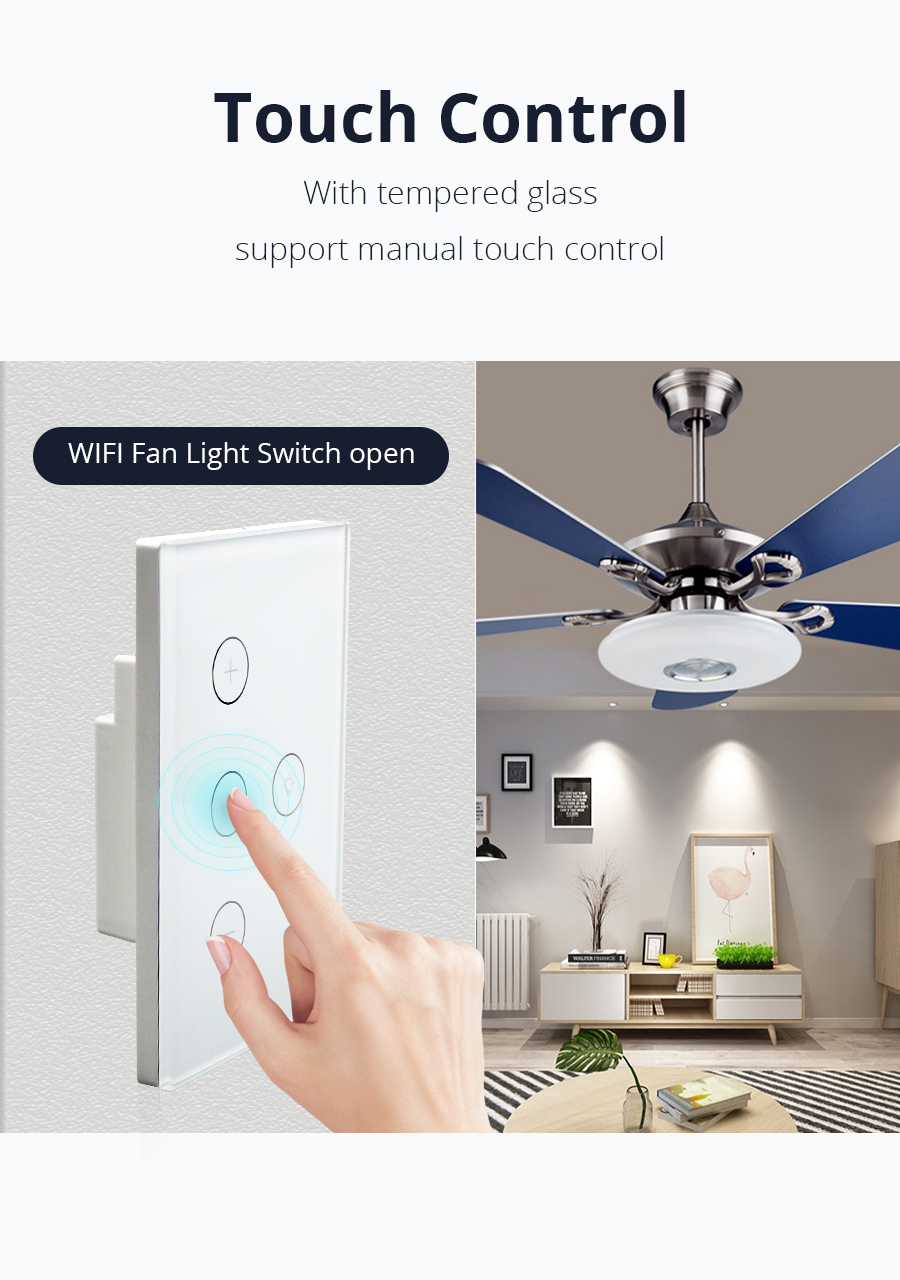 Smart WiFi switch for Fan light Compatible with Alexa Google Home Smart  Life App Control