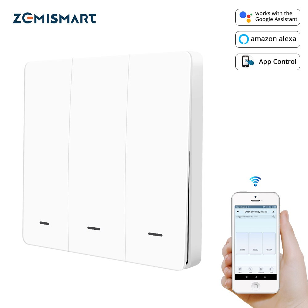 Zemismart Wifi Wall Push Switch Alexa Google Home Tuya