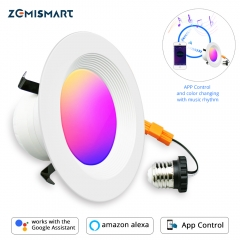 Smart LED Ceiling Light WiFi Downlight RGBCW 4 Inch US Type Alexa Echo Google Home Tuya Control