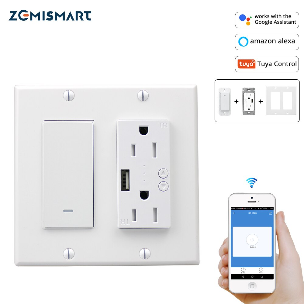 Wifi Light Switch With Usb Port Outlet Us 2 Gangs Tuya