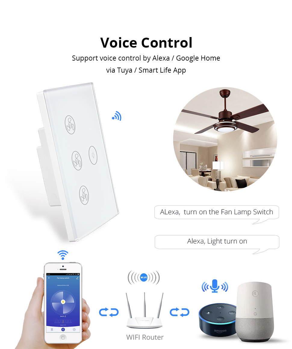 Zemismart Tuya Fan Light Switch Enable Google Home Alexa