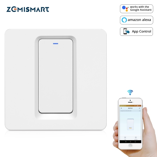 Zemismart EU WiFi Wall Push Light Switch Alexa Google Home TUYA APP Control One Gang Two Three Gangs Physical Switches