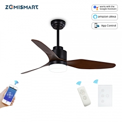 Zemismart Smart Fan light Voice Control By Alexa Google Home HomeAssistant 3 blade ceiling fan with LED Light Kit