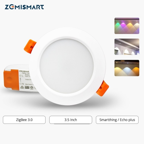 Tuya ZigBee Downlight Smart RGBW Led Recessed Ceiling Light 3.5 Inch Zigbee 3.0 Color Changing with Music Dimmer Timer