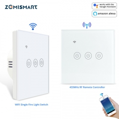Zemismart Tuya WiFi Light Switch No Neutral Wire Required with RF Remote One Two Three Gang  Alexa Google Home Assistant