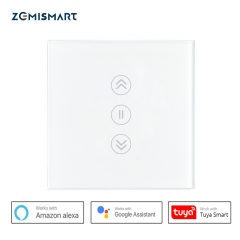 Zemismrt EU Smart Wifi Switch for Curtain Touch Voice Control by Alexa Google Home Siri Phone Control With Blue Backlit on Glass Panel